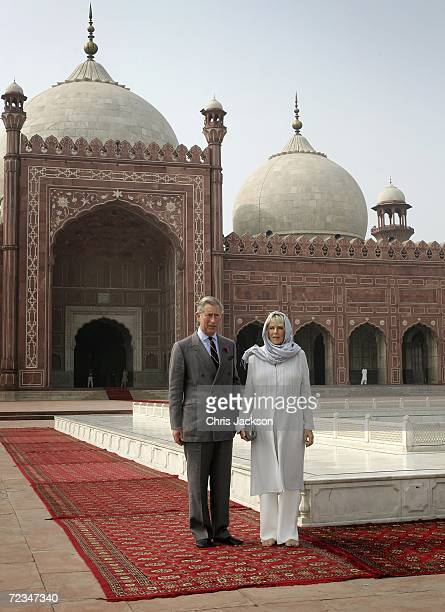 Camilla Duchess of Cornwall and Prince Charles Prince of Wales smiles as they tours Badshai Mosque in Lahore on November 02 2006 in Lahore Pakistan...