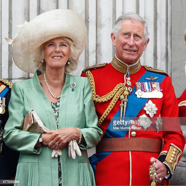 Camilla Duchess of Cornwall and Prince Charles Prince of Wales stand on the balcony of Buckingham Palace during Trooping the Colour on June 13 2015...