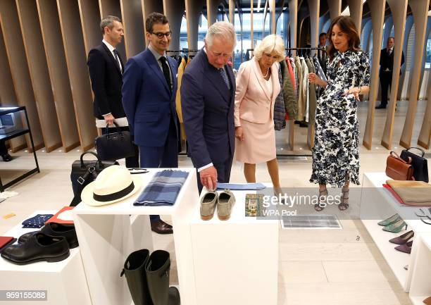 Camilla Duchess of Cornwall and Prince Charles Prince of Wales tour the new Tech Hub with British Fashion Council Chief Executive Caroline Rush and...
