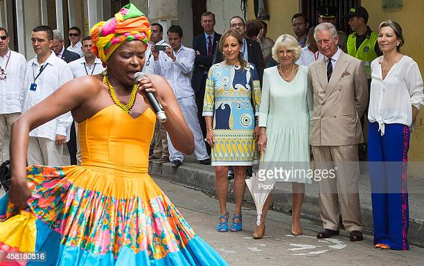 Camilla Duchess of Cornwall and Prince Charles Prince of Wales visit the Museo del Oro with First Lady of Colombia Maria Clemencia Rodriguez on...