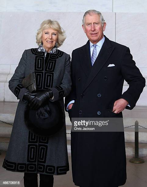 Camilla Duchess of Cornwall and Prince Charles Prince of Wales visit the Lincoln Memorial on the second day of a visit to the United States on March...