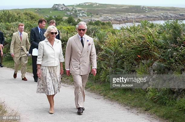 Camilla Duchess of Cornwall and Prince Charles Prince of Wales visit St Agnes Island on July 21 2015 in Isles of Scilly United Kingdom