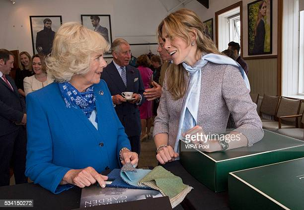 Camilla Duchess of Cornwall and Prince Charles Prince of Wales visit Magee of Donegal's Tweed Factory on May 25 2016 in Letterkenny Ireland The royal...