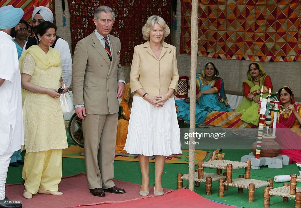 Camilla Duchess of Cornwall and Prince Charles Prince of Wales visit the Punjab village on the eighth day of their 12 day official tour visiting...