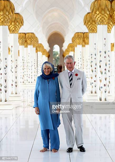 Camilla Duchess of Cornwall and Prince Charles Prince of Wales visit the Grand Mosque on the first day of a Royal tour of the United Arab Emirates on...