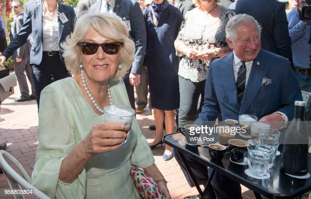 Camilla Duchess of Cornwall and Prince Charles Prince of Wales visit a café as they take a brief walking tour of the Kapnikarea Area of central...