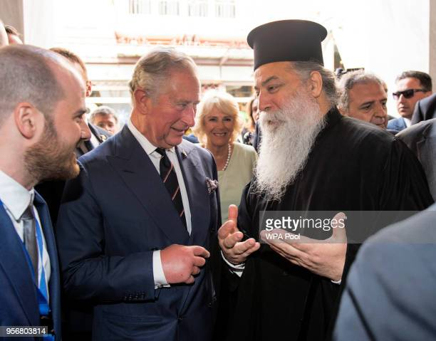 Camilla Duchess of Cornwall and Prince Charles Prince of Wales visit the Byzantine Church of Kapnikarea as they take a brief walking tour of the...