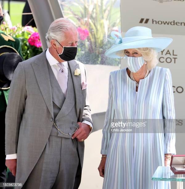 Camilla, Duchess of Cornwall and Prince Charles, Prince of Wales walk into the parade ring during Royal Ascot 2021 at Ascot Racecourse on June 15,...