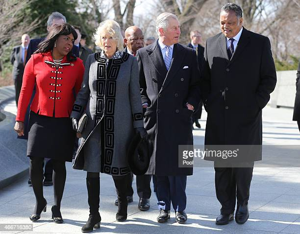 Camilla Duchess of Cornwall and Prince Charles Prince of Wales walk with the Reverand Jesse Jackson and Congresswoman Terri Sewell as they visit the...