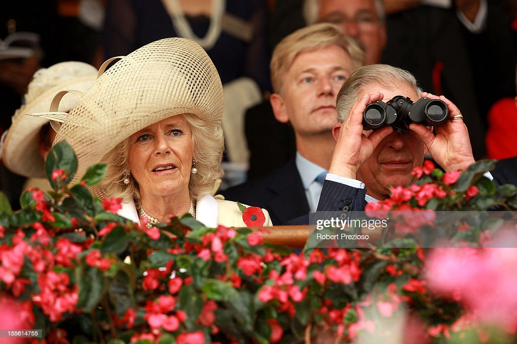 Camilla, Duchess of Cornwall and Prince Charles, Prince of Wales watch the Melbourne Cup at Flemington Racecourse on November 6, 2012 in Melbourne, Australia.