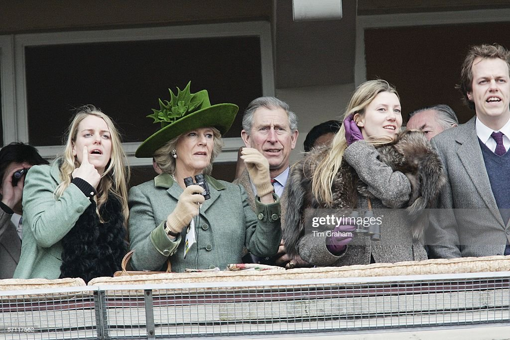 Camilla, Duchess of Cornwall and Prince Charles, Prince of Wales watch the Gold Cup race on the fourth day of Cheltenham Races with Tom Parker-Bowles and his wife Sara Parker-Bowles and Laura Parker-Bowles, on March 17, 2006 in Cheltenham, England.