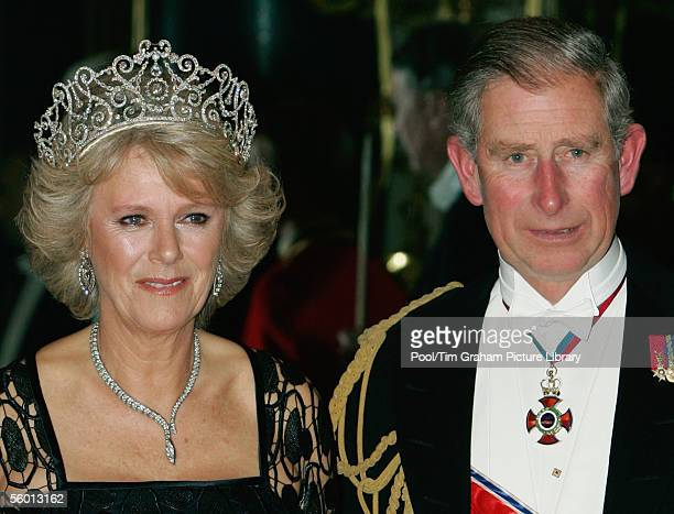 Camilla Duchess of Cornwall and Prince Charles The Prince of Wales attend a banquet in Buckingham Palace on October 25 2005 in London England This is...