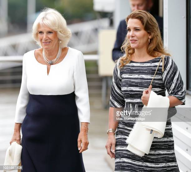 Camilla Duchess of Cornwall and Princess Haya Bint Al Hussein visit the newly refurbished 'Maiden' Yacht at HMS President on September 5 2018 in...