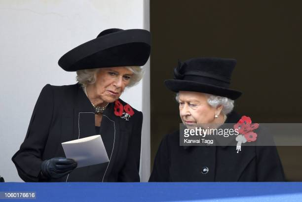 Camilla Duchess of Cornwall and Queen Elizabeth II attend the annual Remembrance Sunday memorial at The Cenotaph on November 11 2018 in London...