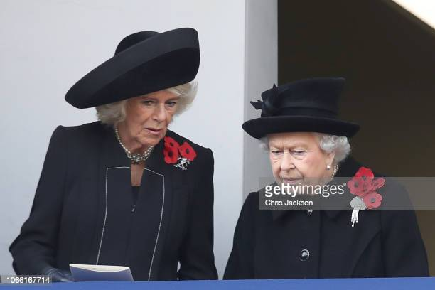 Camilla Duchess of Cornwall and Queen Elizabeth II attend the annual Remembrance Sunday memorial on November 11 2018 in London England The armistice...