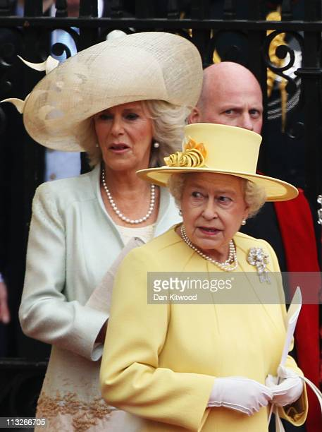 Camilla Duchess of Cornwall and Queen Elizabeth II depart for a procession to Buckingham Palace following the marriage of Their Royal Highnesses...
