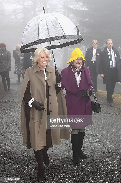 Camilla Duchess of Cornwall and Queen Sonja of Norway visit Granebo Outdoor Nursery School on March 21 2012 in Oslo Norway Prince Charles Prince of...