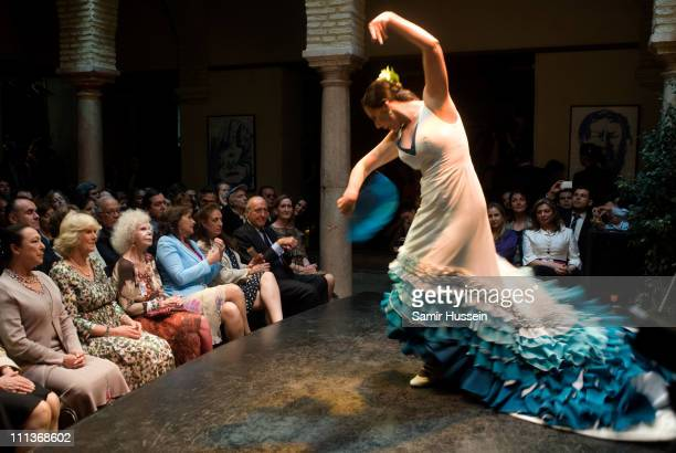 Camilla Duchess of Cornwall and the Duchess of Alba watch a flamenco performance at the Flamenco Museum on day three of a three day visit to Spain on...