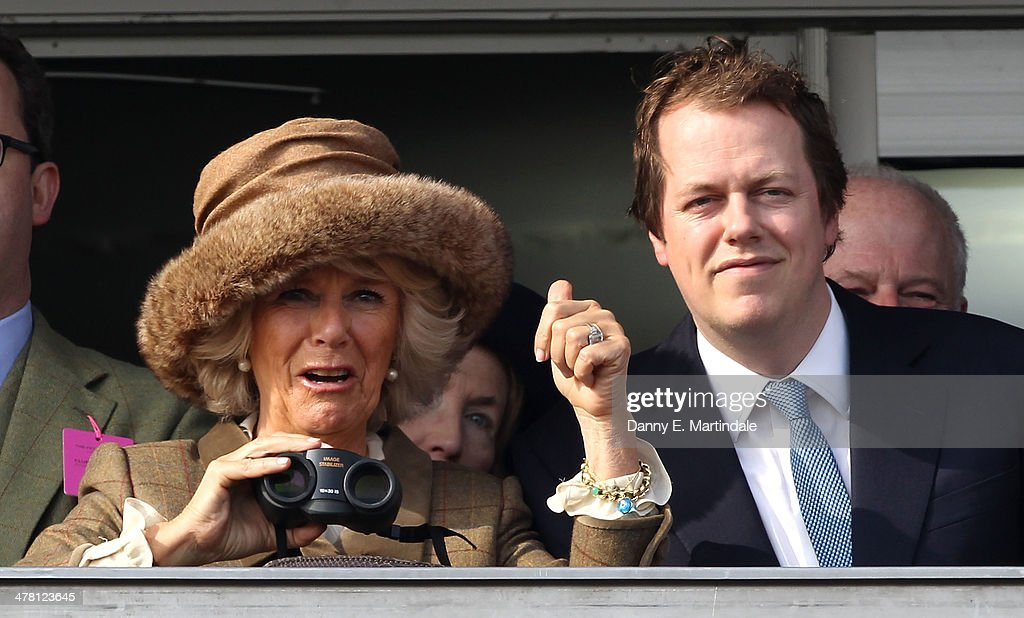Camilla, Duchess of Cornwall and Tom Parker Bowles watch the first race, Camilla, Duchess of Cornwall celebrates winning the race on Ladies Day, day 2 of The Cheltenham Festival at Cheltenham Racecourse on March 12, 2014 in Cheltenham, England.