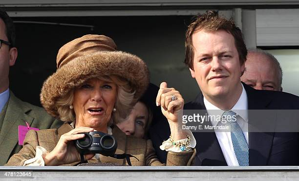 Camilla, Duchess of Cornwall and Tom Parker Bowles watch the first race, Camilla, Duchess of Cornwall celebrates winning the race on Ladies Day, day...
