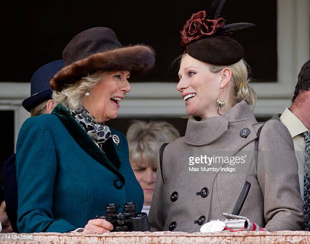 Camilla Duchess of Cornwall and Zara Phillips watch the 'Queen Mother Champion Steeple Chase' horse race on day 2 'Ladies Day' of the Cheltenham...