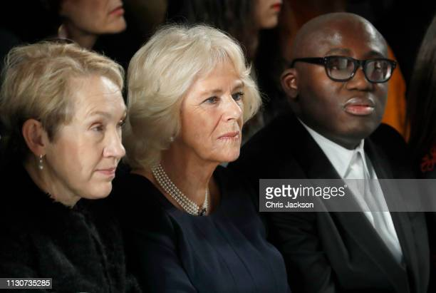 Camilla, Duchess Of Cornwall andeditor-in-chief of British Vogue magazine Edward Enninful participate in a minutes' silence for designer Karl...