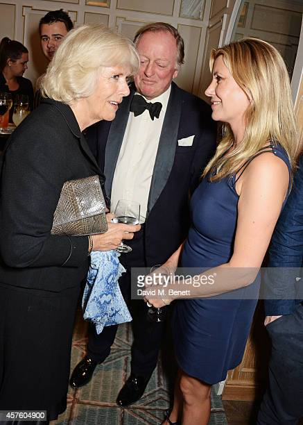 Camilla Duchess of Cornwall Andrew Parker Bowles and Sara Parker Bowles attend Fortnum Mason's Diamond Jubilee Tea Salon for the launch of Tom Parker...