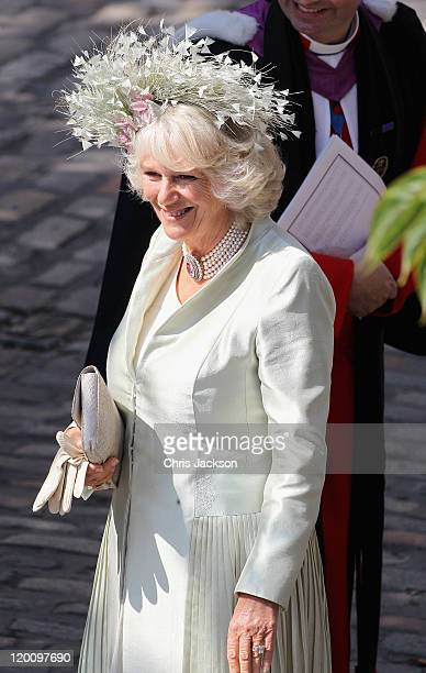 Camilla, Duchess of Cornwall arrives at Canongate Kirk on the afternoon of the wedding of Mike Tindall and Zara Philips on July 30, 2011 in...