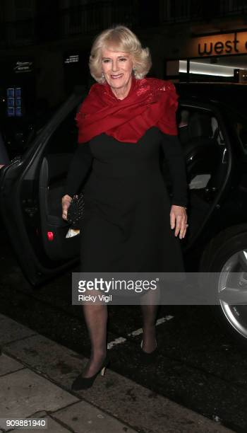 Camilla Duchess of Cornwall arrives at Lady Jane SpencerChurchill's Birthday at 34 Mayfair on January 24 2018 in London England