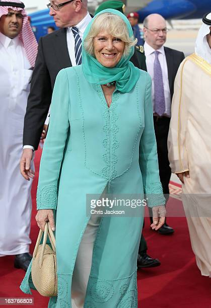 Camilla Duchess of Cornwall arrives at Riyadh Airbase on the fifth day of a tour of the Middle East on March 15 2013 in Riyahd Saudi Arabia The Royal...