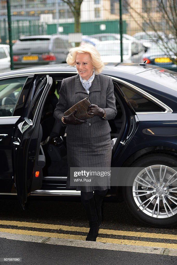 Camilla, Duchess of Cornwall arrives at Safelives Centre on January 27, 2016 in London, England.