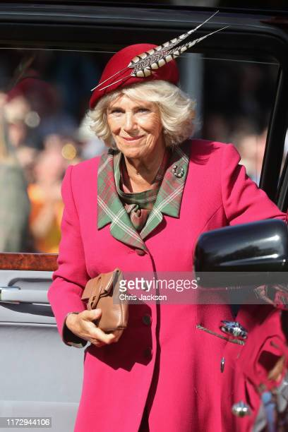 Camilla Duchess of Cornwall arrives at the 2019 Braemar Highland Games at The Princess Royal and Duke of Fife Memorial Park on September 07 2019 in...