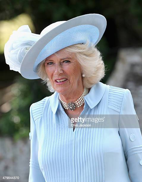 Camilla, Duchess of Cornwall arrives at the Church of St Mary Magdalene on the Sandringham Estate for the Christening of Princess Charlotte of...