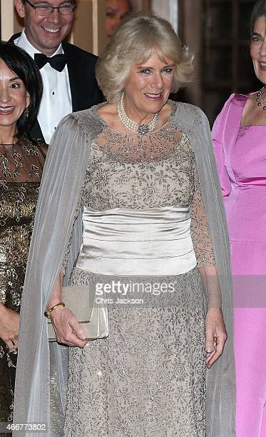 Camilla Duchess of Cornwall arrives at the private residence of Barbie Albritton for a reception on the second day of a visit to the United States on...