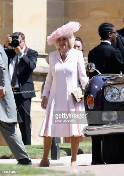 Camilla Duchess of Cornwall arrives at the wedding of Prince Harry to Ms Meghan Markle at St George's Chapel Windsor Castle on May 19 2018 in Windsor...