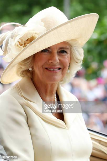 Camilla Duchess of Cornwall arrives by carriage to Royal Ascot Day 1 at Ascot Racecourse on June 19 2018 in Ascot United Kingdom