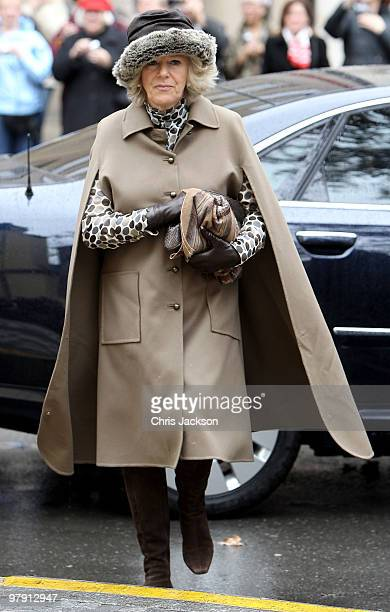 Camilla Duchess of Cornwall arrives for a Sunday service at St Clements Church on March 21 2010 in Prague Czech Republic Prince Charles Prince of...