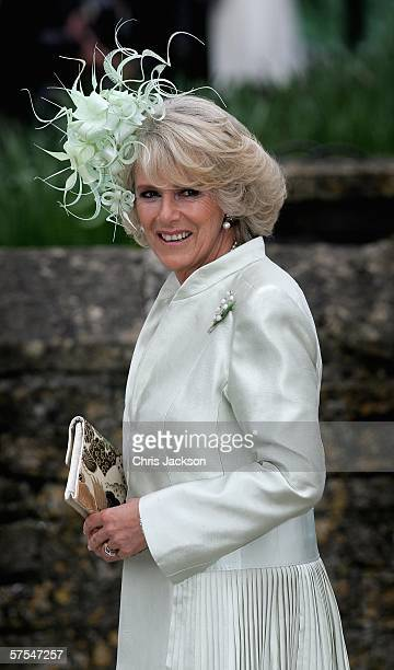 Camilla Duchess of Cornwall arrives for Laura Parker Bowles wedding to Harry Lopes at St Cyriac's Church Lacock on May 6 2006 in Wiltshire England...