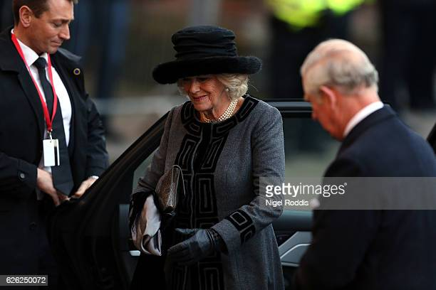 Camilla Duchess of Cornwall arrives for the memorial service of The Duke of Westminster at Chester Cathedral on November 28 2016 in Chester England...