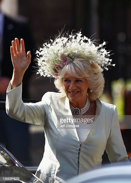 Camilla Duchess of Cornwall arrives for the Royal wedding of Zara Phillips and Mike Tindall at Canongate Kirk on July 30 2011 in Edinburgh Scotland...