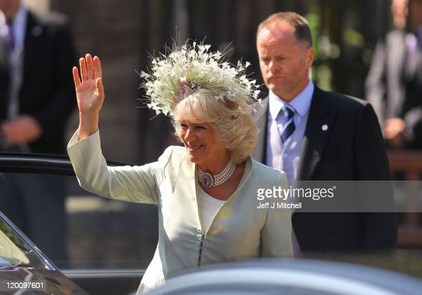 Camilla, Duchess of Cornwall arrives for the Royal wedding of Zara Phillips and Mike Tindall at Canongate Kirk on July 30, 2011 in Edinburgh,...