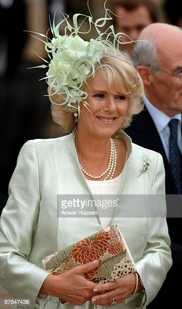Camilla Duchess of Cornwall arrives for the wedding of Laura Parker Bowles and Harry Lopes at St Cyriac's Church Lacock on May 6 2006 in Wiltshire...