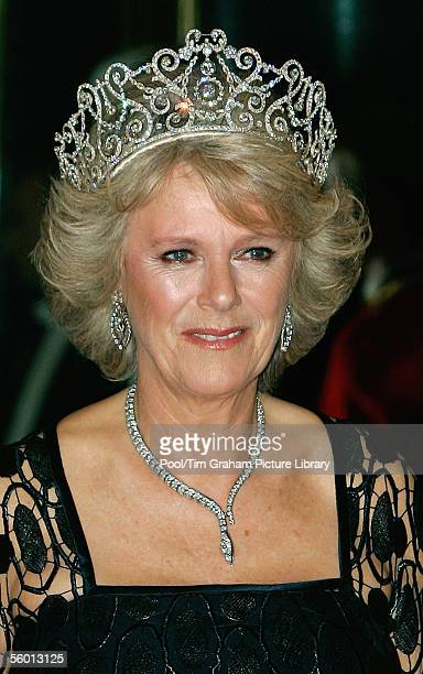 Camilla Duchess of Cornwall arrives in Royal heirloom diamond tiara necklace and earrings at a banquet in Buckingham Palace on October 25 2005 in...