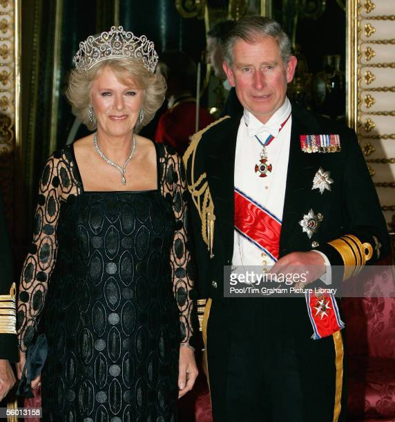 : Camilla Duchess of Cornwall arrives in Royal heirloom diamond tiara, necklace and earrings, with Prince Charles The Prince of Wales at a banquet in...