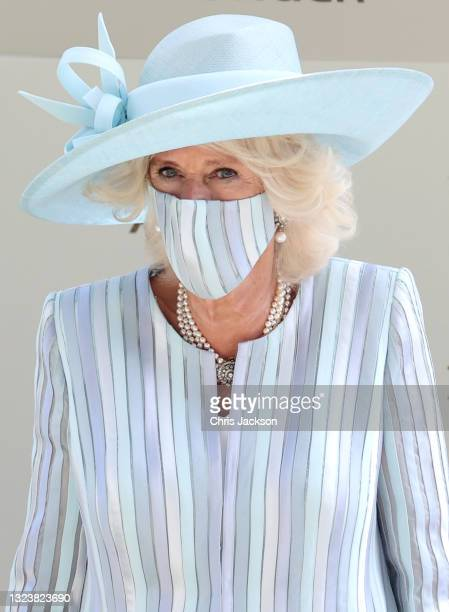 Camilla, Duchess of Cornwall arrives into the parade ring during Royal Ascot 2021 at Ascot Racecourse on June 15, 2021 in Ascot, England.