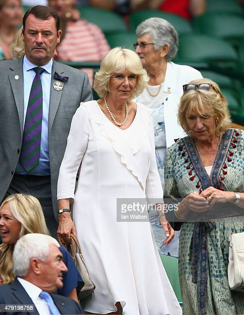 Camilla Duchess of Cornwall arrives on Centre Court during day four of the Wimbledon Lawn Tennis Championships at the All England Lawn Tennis and...