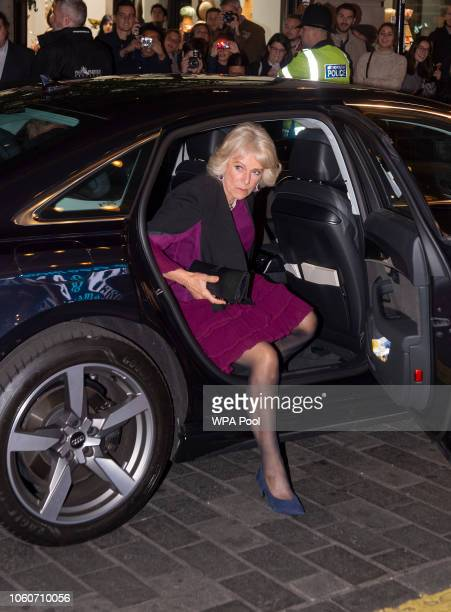 Camilla Duchess of Cornwall arrives to attend a one off performance of 'We Are Most Amused and Amazed' in aid of The Prince's Trust and in...