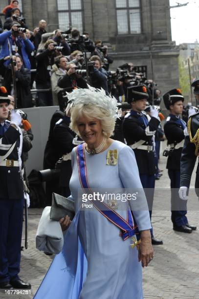 Camilla Duchess of Cornwall arrives to attend the inauguration of HM King Willem Alexander of the Netherlands and HRH Princess Beatrix of the...