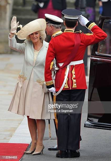 Camilla, Duchess of Cornwall arrives to attend the Royal Wedding of Prince William to Catherine Middleton at Westminster Abbey on April 29, 2011 in...