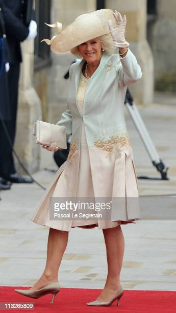 Camilla Duchess of Cornwall arrives to attend the Royal Wedding of Prince William to Catherine Middleton at Westminster Abbey on April 29 2011 in...